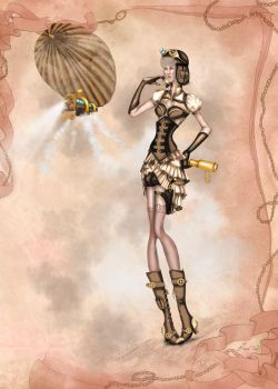 Steampunk Fashion Illustration by BasakTinli by BasakTinli