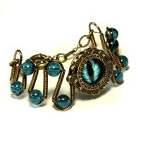 Blue Dragon eye bracelet by CatherinetteRings
