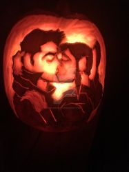 Pumpkin carving: Makorra kiss by BlueRose017