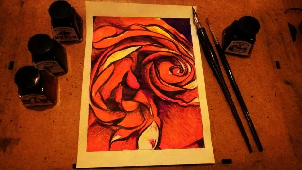Rose In Inks by delph-ambi