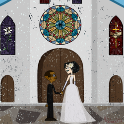 Gwemeron Week 2018:2nd day-Black and White Wedding by AleGwen714