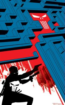 Punisher Red Death maze by artist Tom Kelly by TomKellyART