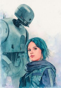 Jyn Erso and K-2so watercolor by Trunnec