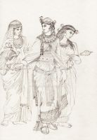 Ancient Egypt - Queen with noblewomen by Pencilivy