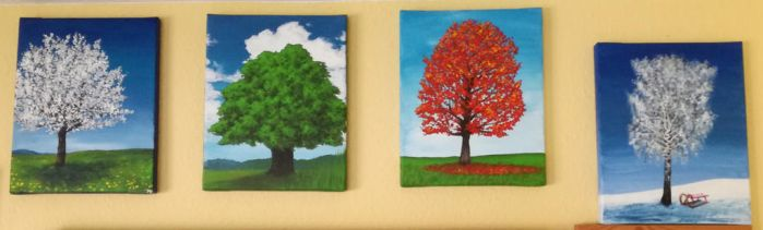 Four tree paintings by Seyreene