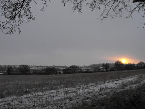 Snow at Sun set by Mystic-Photography
