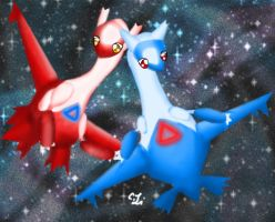 Latios and Latias by magicwingsforever