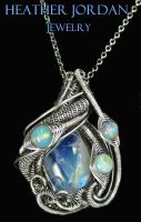 Moonstone and Opal Pendant in Sterling Silver by HeatherJordanJewelry