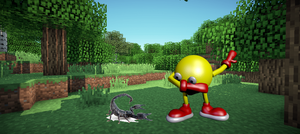 Pac Man in Mincraft Dabbing with a unusual pet by DelightfulDiamond7