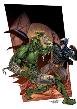 Batman vs Killer Croc by AlonsoEspinoza