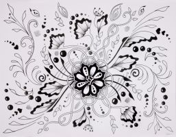 Inky Flowers by chocolatecovered-art