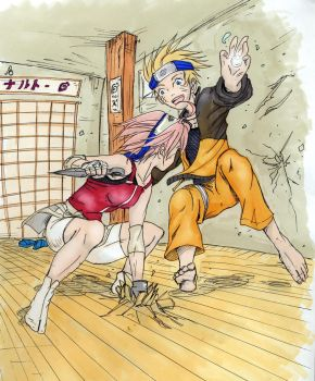 Naruto and Sakura sparring by Looby-the-Pirate