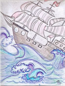A Ship in Storm by polkadotlover123