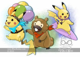 Special Pikachu and a Bidoof