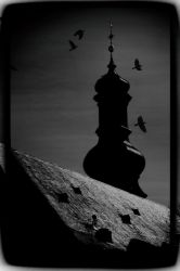 Church tower silhouette in the moon light by PhotoartBK