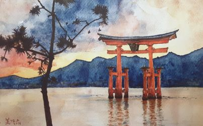 Miyajima's Great Torii at Sunset by MirielVinya