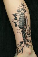 Music Crazy Micro  TaT by 2Face-Tattoo