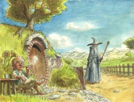 The Hobbit watercolor illustration by alonsomolina1985