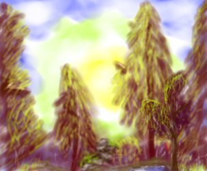 Painting with Bob Ross - A walk in the woods by ravenclawseekergirl