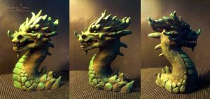 Green dragon bust by Nimphradora