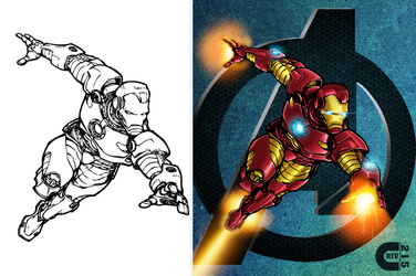 Iron Man B4 and After Color by criv215