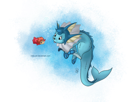 Vaporeon and Ponyo by Noky-Art