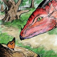 Lacerta (Scions of the dragon gods) and butterfly by Bennett-Burks