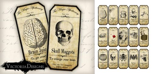 Printable Halloween Apothecary Labels by VectoriaDesigns