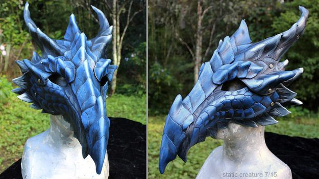 Blue leather dragon mask by zarathus