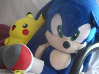 Sonic and Pikachu plush by SonicHearts