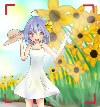 With the sunflowers by Asacream