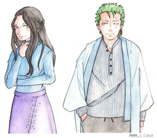 [ONE PIECE FANART] Zoro and Robin by MiMiMiLiter