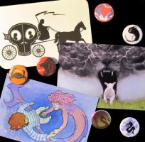Postcards and buttons by karenluk