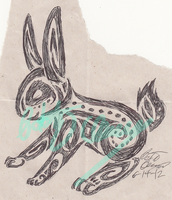 work doodle: tribal bunny by Tatta-doodles