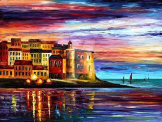 Italy - Liguria by Leonid Afremov by Leonidafremov
