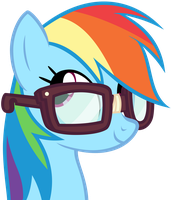 Rainbow Dash with glasses Vector by zonelouise