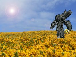Fel Reaver in a Flower Field by Sephirothsdx