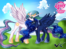 Commission: Princess Celestia and Princess Luna by jadenkaiba