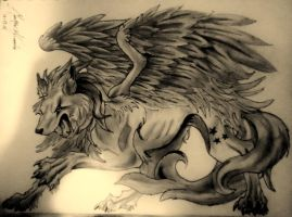 winged wolf by Graywolf95
