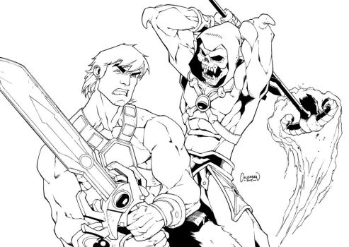 He-Man Vs Skeletor Commission by RedCole84