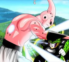 Super Buu Vs Cell by TsugiShine