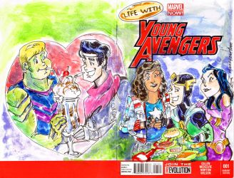 Sketch COver Young Avengers Archie Style by mannycartoon