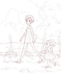 Sketch for Satsuki and Mei .My Neighbor Totoro. by dwightyoakamfan