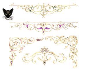 Golden curbs with jewelry elements decoration by Lyotta