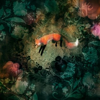 Rosemaling fox leap by carlylyn