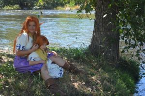 Romani and Cremia at the River by meanlilkitty
