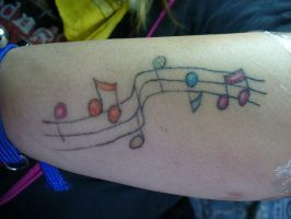 rainbow music notes tattoo by ravercandy