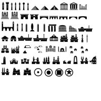 Map Symbols Photoshop Brushes: Castles etc. by jatna