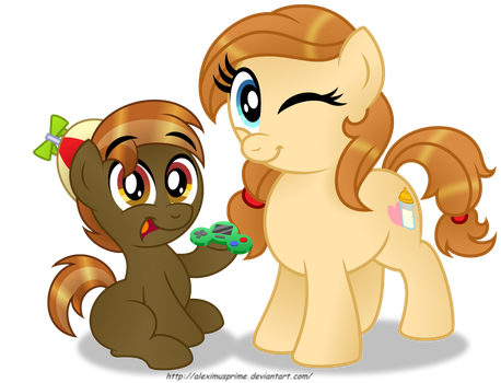 Button and his Mom by AleximusPrime