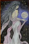 Moon Goddess charcoal/pastel commission fini by ShelandryStudio